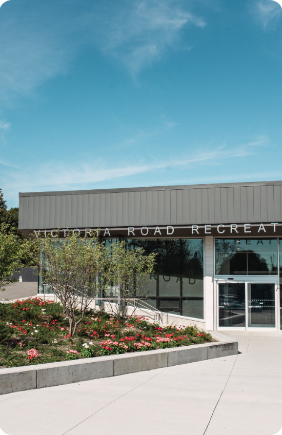 Picture of the East End neighbourhood in Guelph, showing Victoria Road Recreation Centre.