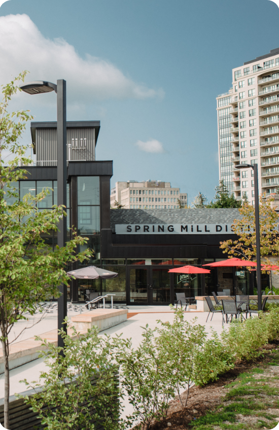 Picture of the Ward & St. Georges neighbourhood in Guelph, showing the Spring Mill Distillery.