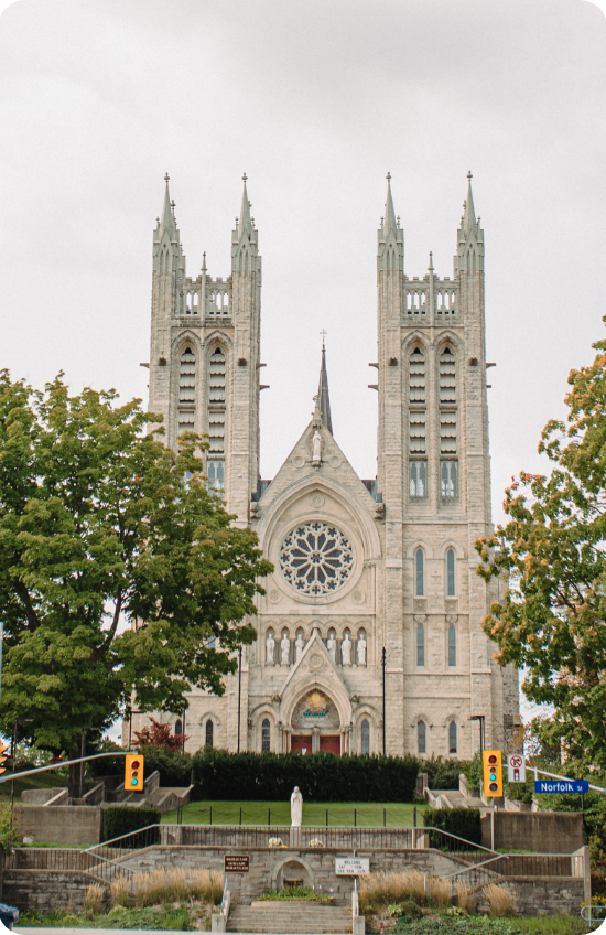 Picture of the Downtown neighbourhood in Guelph, showing the Basilica of Our Lady Immaculate.